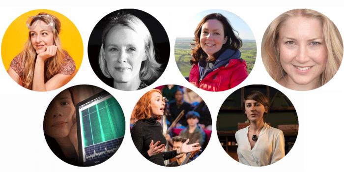 Top row, l-r: Diana Cowern, Jo Dunkley, Melanie Windridge, Lucie Green; bottom row, l-r: Oona Räisänen, Hannah Fry, Rebecca Struthers.