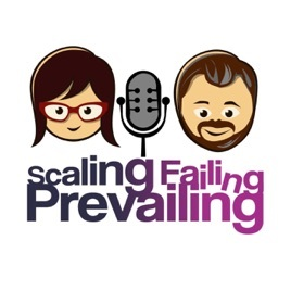 The logo for the podcast Scaling, Failing and Prevailing