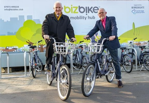 Sean Moroney, Founder & CEO, Cambridge Electric Transport, and friend on their bikes