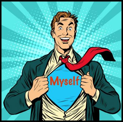 cartoon man opens shirt to reveal the word 'myself' on a t-shirt