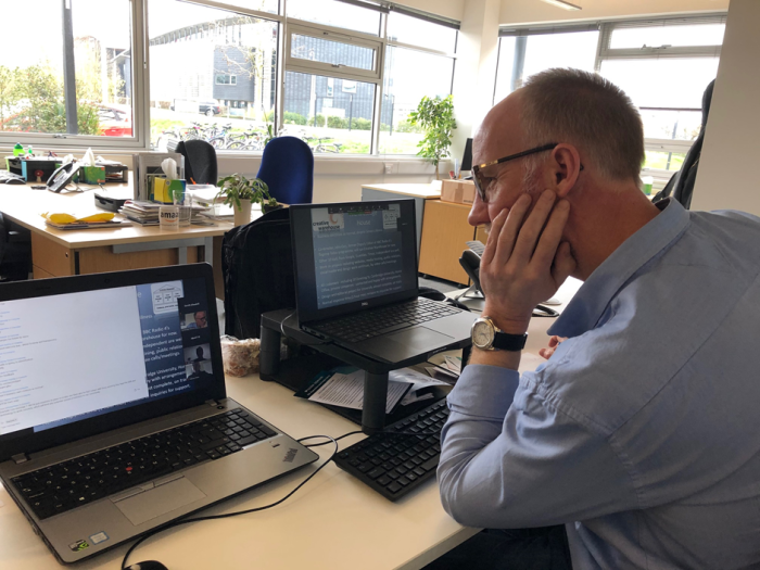 Simon Hall running the crisis communications webinar in the cambridge network office