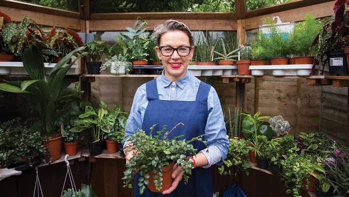 Janet Fox of Small & Green with some of her houseplants