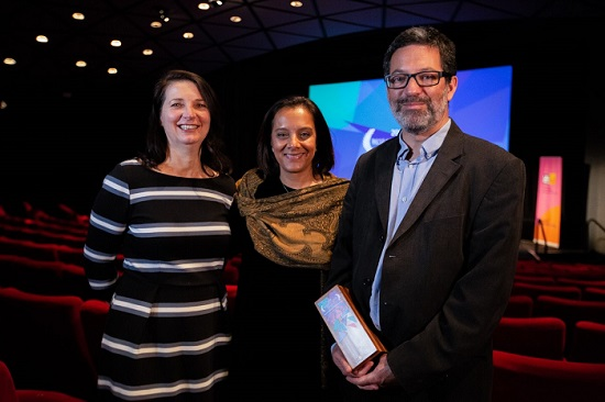 thumbnail_Sophie Jackson, Dr Shreepali Patel and Professor Topun Austin with the AHRC award