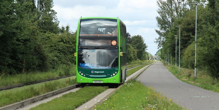 St Ives bus on Guided Busway