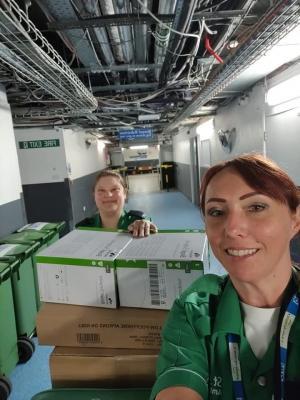 St John Ambulance volunteers Melanie Godefroy (L) and Vanessa Chittock.