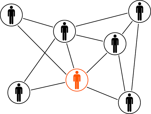 graphic showing people connected from a distance