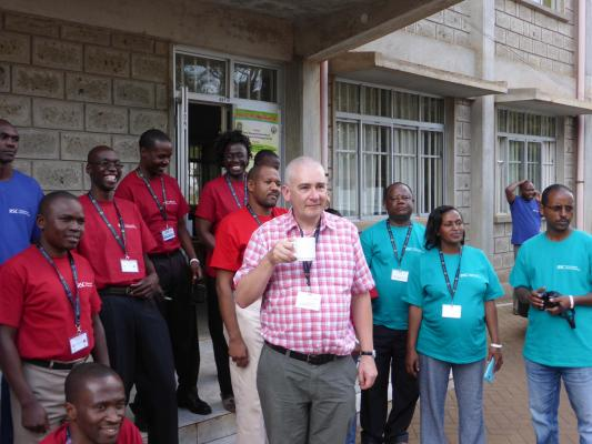 Steve Lancaster from Domino Printing with some of his African students (taken pre COVID-19).