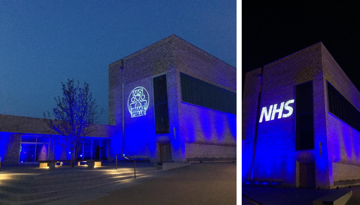 Streys Field lit up in blue to show support for the NHS and keyworkers