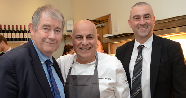 left to right: Bill Brogan, Catering & Conference Manager, St John's College; Andreas Antona, Michelin-starred Chef-Patron at Simpsons Restaurant in Birmingham; and Ean Hogg, Assistant Catering Manager, St John's College.