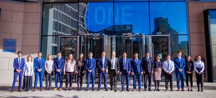 Some of Deloitte's graduate and school-leaver recruits for its Cambridge office.