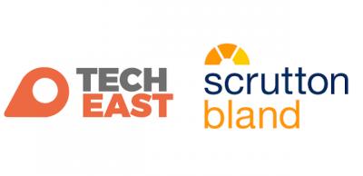 Tech east and scrutton bland logos respectively