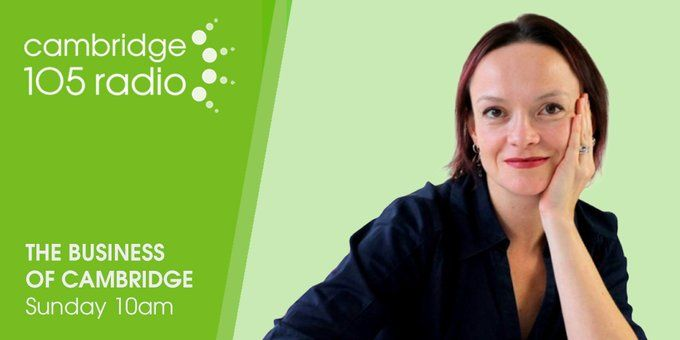 Sue Keogh and The Business of Cambridge - 105 radio banner