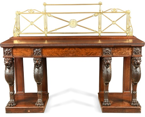 Leading the furniture section is a fine mahogany sideboard table, in the manner of Thomas Hope from circa 1810