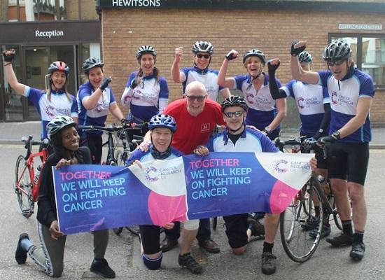 Tour de Hewitsons team arrives in Cambridge