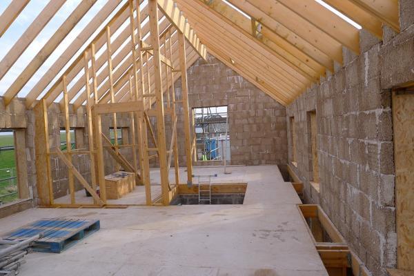 Hempcrete in a building construction