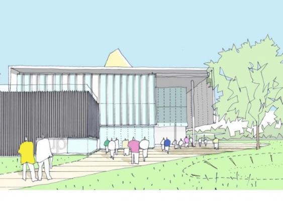 artist's impression of new university building in Peterborough