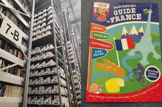 Right: A full, 11.5 meter tall, shelving unit at the LSF. Left: Sandi Toksvig's guide to France. London: Red Fox, 2009.