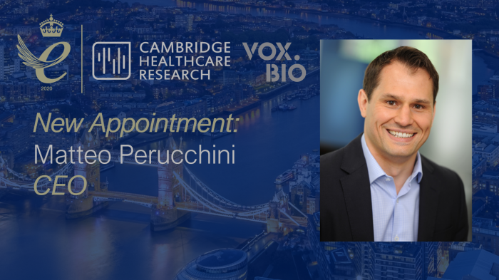 Matteo Perucchini who has been appointed CEO of Cambridge Healthcare Research