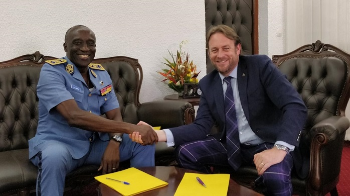 Brigadier General Jean-Calvin Momha, Chief of Air Staff Cameroon Air Force with Marshall ADG Sales Director, Matthew Harvey