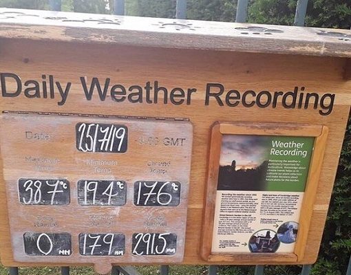 Notice board showing hottest day recording