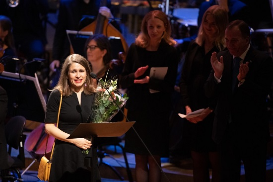 Kristin Roskifte speaking after winning the Nordic Council prize. Credit: norden.org