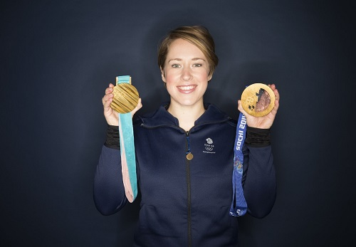 Lizzy Yarnold with her medals - credit Alex Livesey (@liveseyalex)