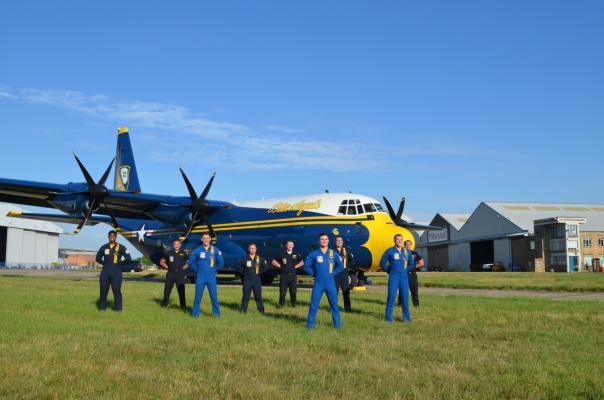 Blue Angels'C130J heads home.