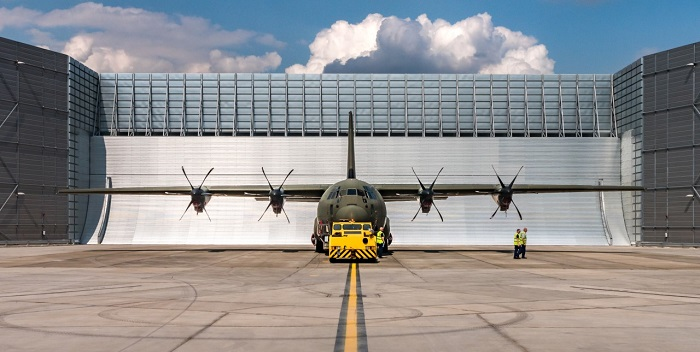 A Lockheed Martin C-130 Hercules getting ready for engine test