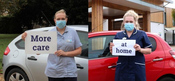 Care teams from Sue Ryder Thorpe Hall Hospice (left) and Arthur Rank Hospice Charity (right) will be giving more care to people at home, helping to improve choice and keep people out of hospital following a partnership decision to fast track expansion of services in response to the Coronavirus pandemic.
