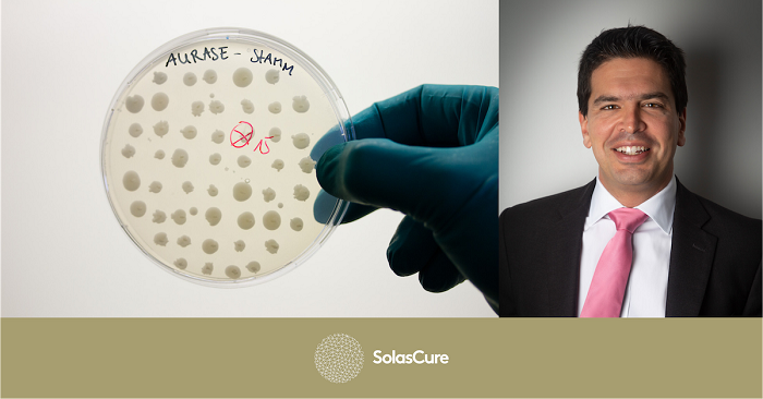 Petri dish and Dr Sam Bakri, Executive Chairman and CEO of biotech start-up, SolasCure