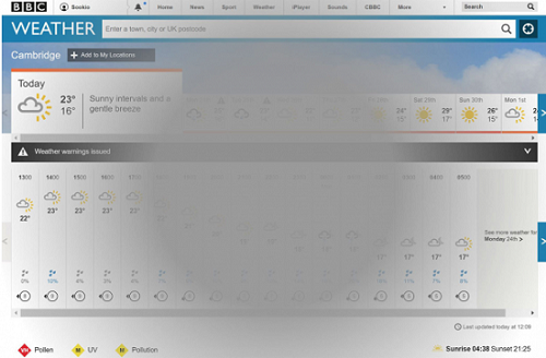 How the BBC Weather page could look to someone with macular degeneration