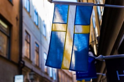 Swedish flag on a building