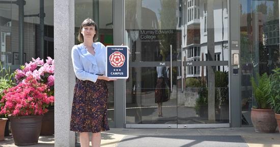 Myriam Larauche, Murray Edwards College, with the VisitEngland plaque.