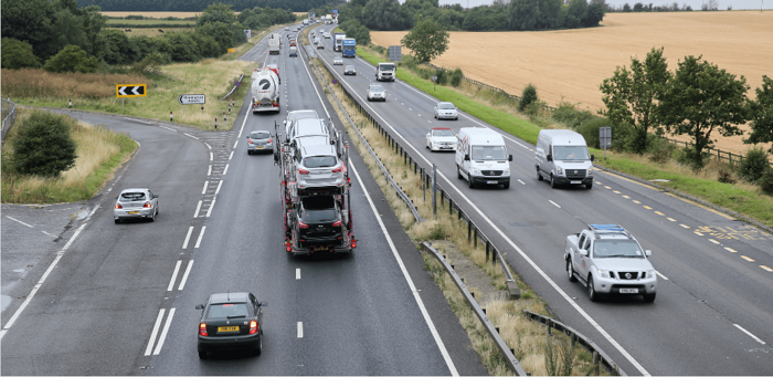 A14 in Cambridgeshire /image from Highways England