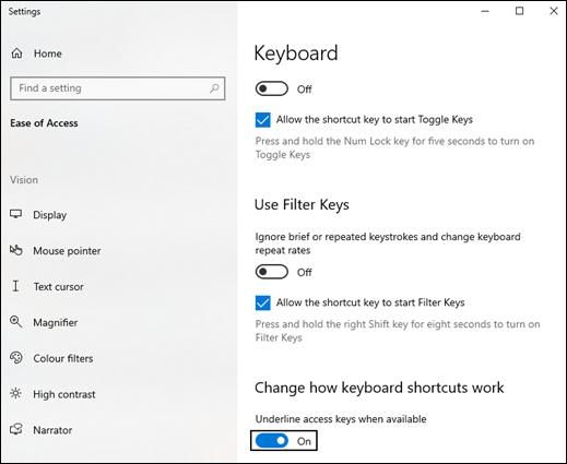 access key settings box