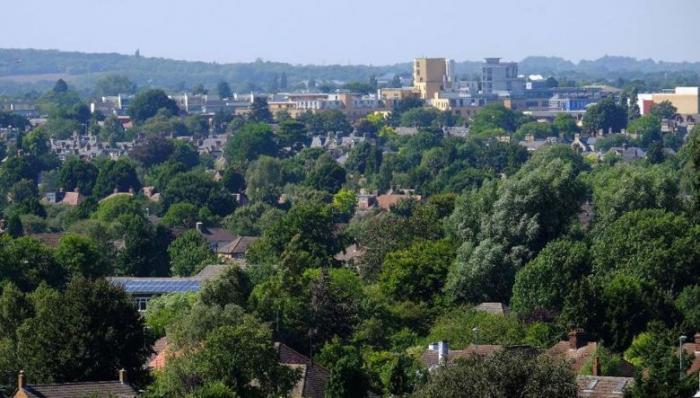 aerial shot of Cambridge city