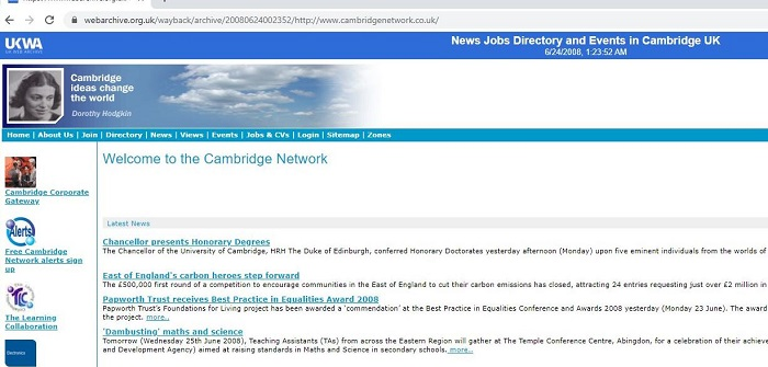 June 2008 CN home page screen shot from British Library archive