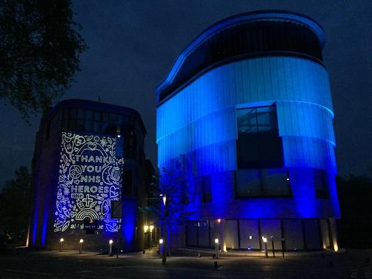 Anglia Ruskin University Nursing School was illuminated as part of Clap for Carers