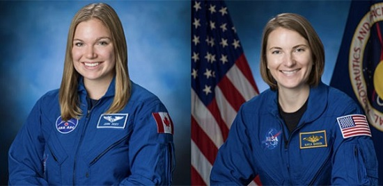 Image  Dr Jenni Sidey-Gibbons (left) and Kayla Barron  Credit: NASA/Bill Stafford