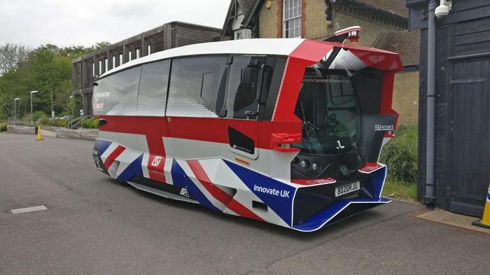 Autonomous shuttle vehcile resembles a mini-bus