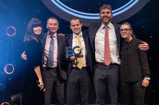 (left to right): Claudia Winkleman, Partner Chris Schwer, Partner Cameron Barlow, Patrick McKeogh from the award's sponsor New London Architecture, and EG editor Samantha McClary.