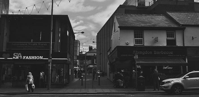 Abingdon street in central Blackpool, the English town with the highest rate of hospital admissions for self-harm.  Credit: Clive Varley