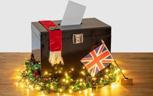 Ballot box with UK flag and Christmas lights