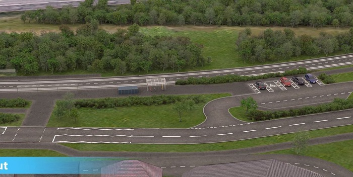 still from video showing bus stop on planned Cambourne to Cambridge route