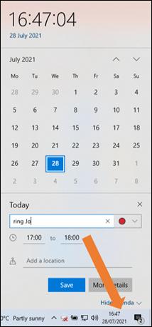 calendar on desktop