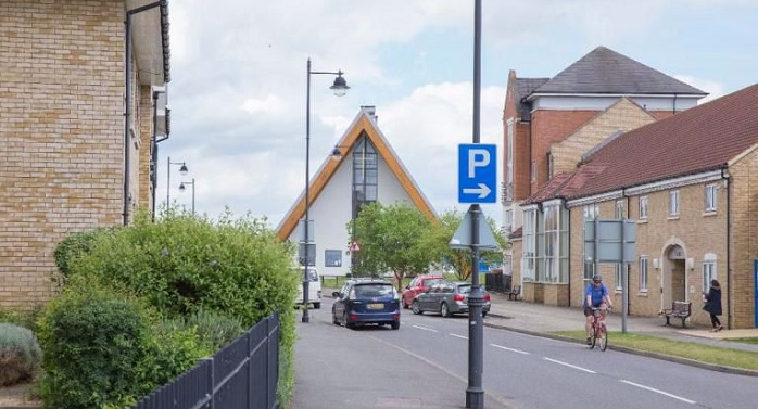 Cambourne street scene with Church in view