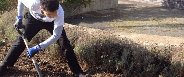 A student helps prepare the ground for the new sensory garden at Cambourne Village College.