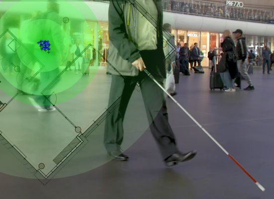 visually impaired person with cane walking through a busy transport hub; technology map superimposed
