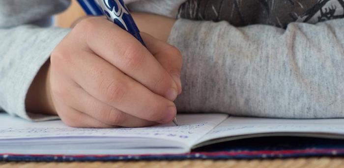 A child writes in his workbook in a school classroom.  Credit: Martin Vorel