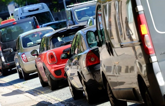 cars in a traffic jam: city congestion